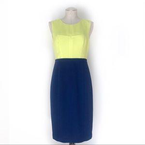 BCBG MaxAzria Color Block Dress Neon & Blue Size 8